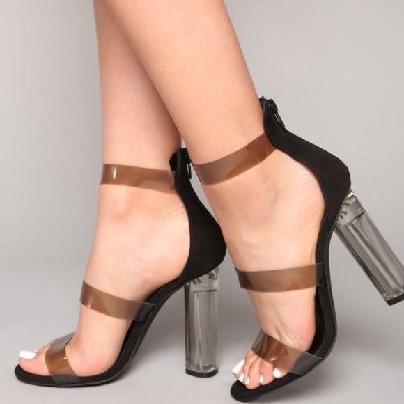 """67dface1548 Fashion Nova """"Rosy Clear Heel"""" NWT"""